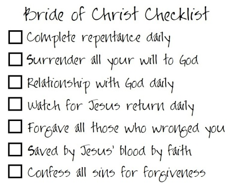 Bride of Christ Checklist 2
