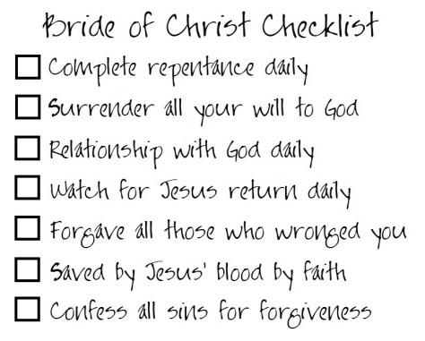 Bride of Christ Checklist 2