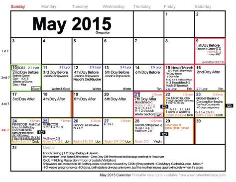 May Calendar Updated